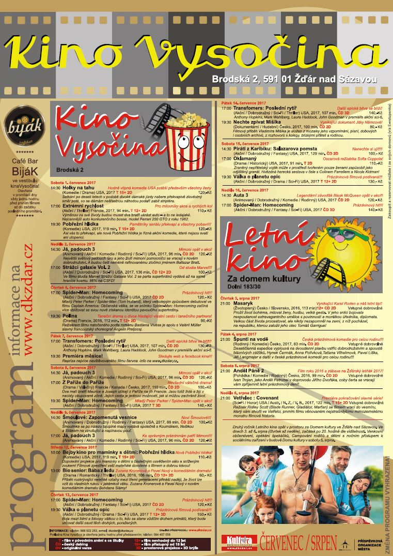Kino Vysočina - program - červenec - srpen 2017