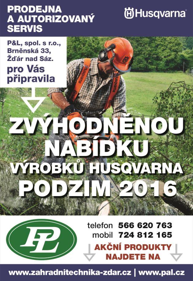 Zvýhodněná nabídka výrobků HUSQVARNA podzim 2016