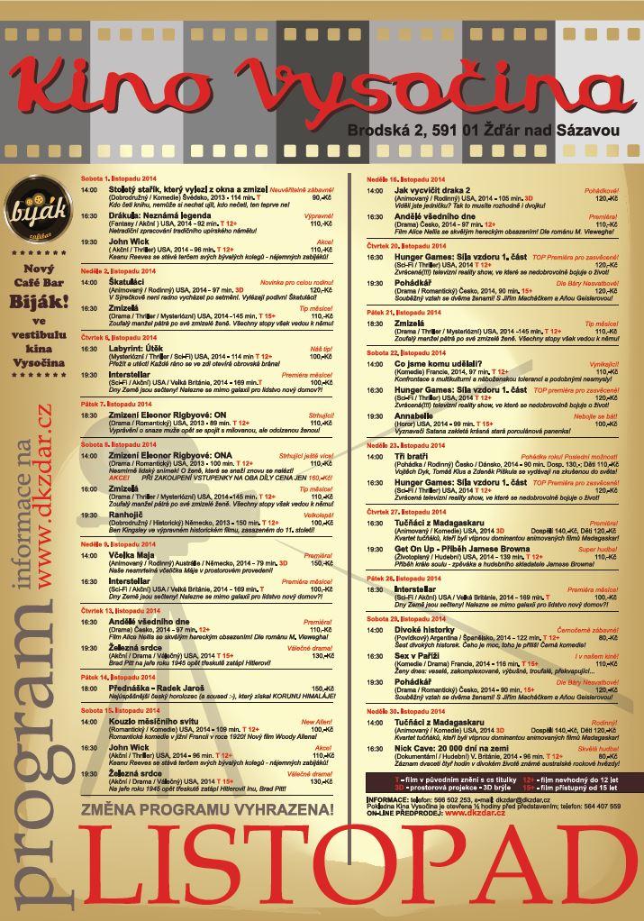 Program 11/2014 Kino Vysočina Žďár nad Sázavou - kliknutím zvětšíte