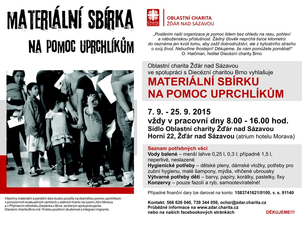 Materiální sbírka pro uprchlíky 2015
