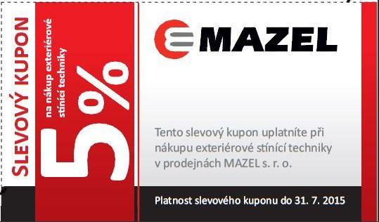 Rolety, markýzy, žaluzie - Mazel s.r.o. - slevový kupon