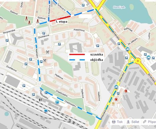 Mapa uzavírky I. etapy ulice Smetanova Žďár nad Sázavou