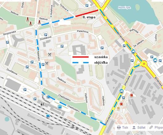Mapa uzavírky II. etapy ulice Smetanova Žďár nad Sázavou